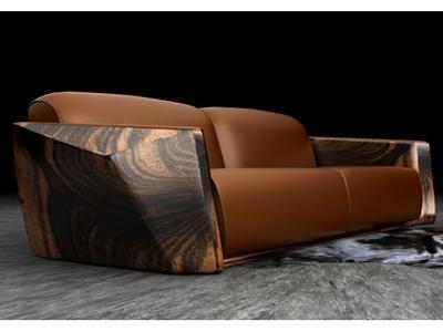 穆萨muusa新中式印尼黑檀/意大利真皮沙发