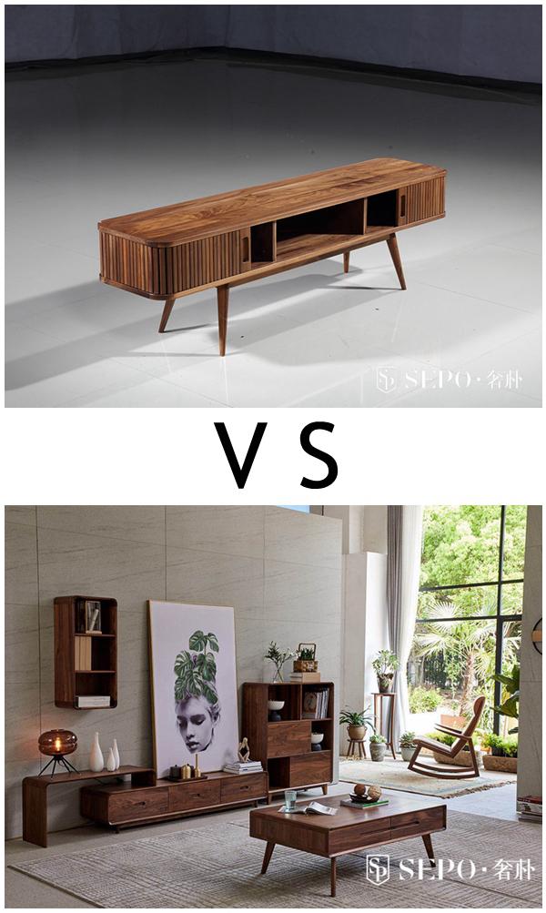 传统电视柜和客厅电视高低柜