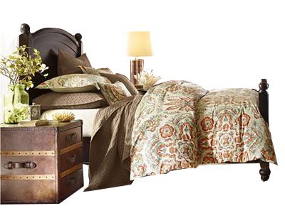 有有家家居网 勃朗特系列 美式乡村深色黄杨木实木1.5米床