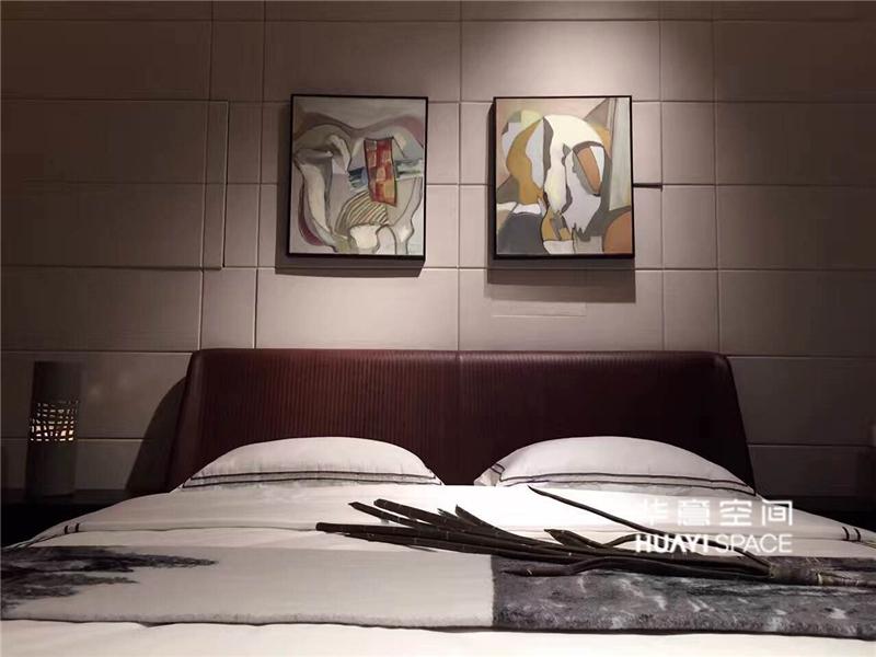 敏悦坊·华意空间简约现代卧室白蜡木实木双人HB113新款床/床头柜