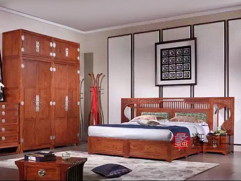 和禾新中式家具新中式 苏作卧室红木家具刺猬紫檀双人床/床头柜