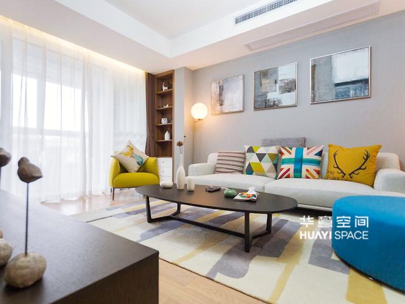 华意空间整体家居简约现代客厅布艺沙发/单人位沙发/茶几