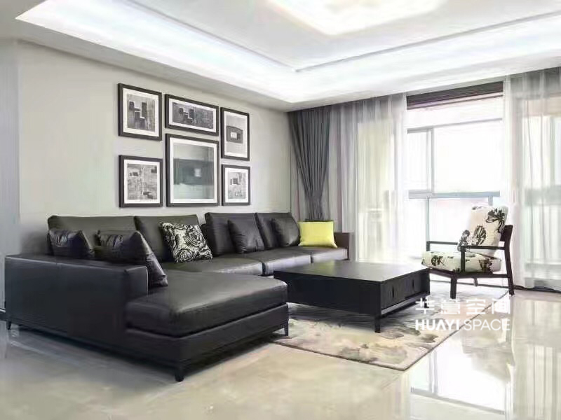 敏悦坊·华意空间简约现代客厅真皮转角利发国际组合/茶几/单人休闲椅