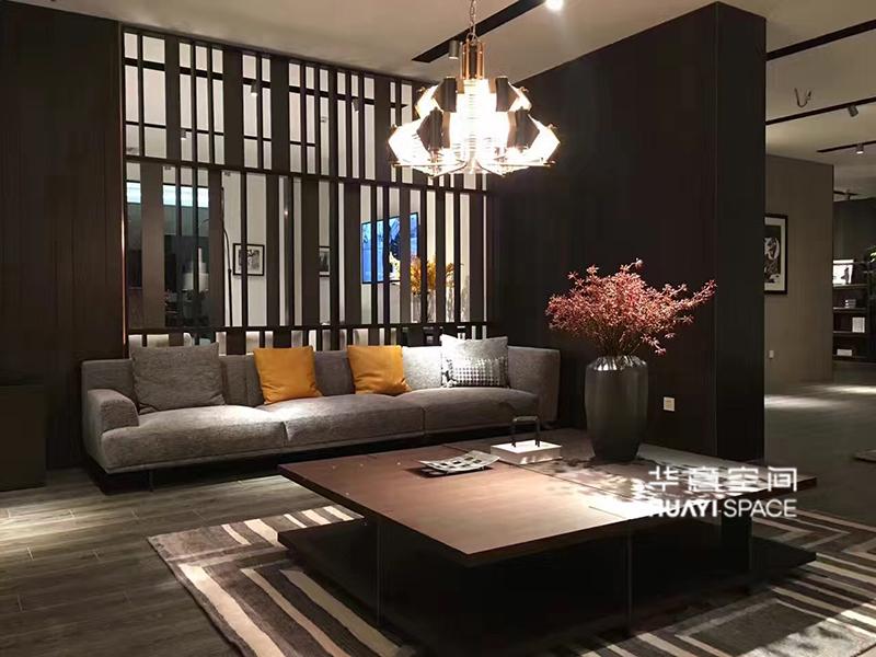 华意空间整体家居简约现代客厅布艺沙发/大方几