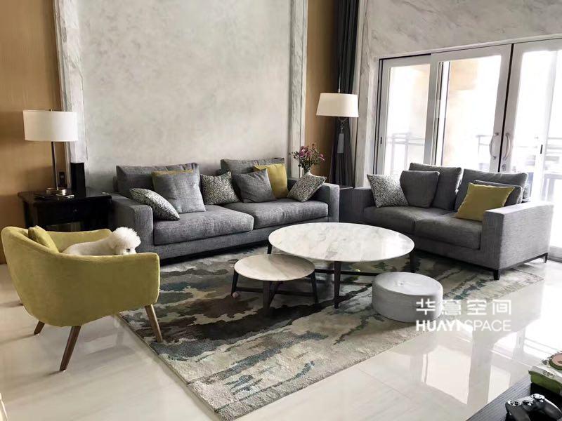 华意空间整体家居简约现代客厅双人位+三人位+单人位布艺沙发