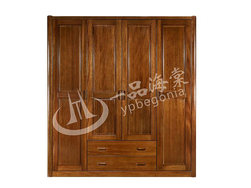 君诺家居·一品海棠家具 现代中式卧室海棠木实木带抽屉衣柜