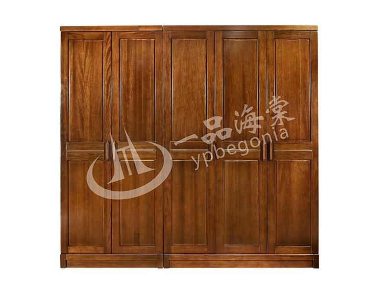 君诺家居·一品海棠家具 现代中式卧室海棠木实木五门衣柜