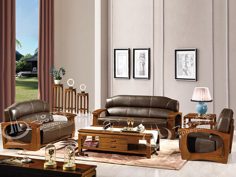 君诺家居·一品海棠家具 现代中式客厅海棠木牛皮实木810双人位/单人位/三人位沙发组合/茶几/角几