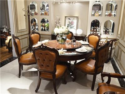 应氏家居·初见美家家具欧式餐厅实木皮质圆餐桌椅带转盘