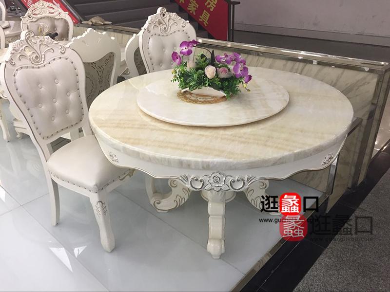 卡莱诺琪家具欧式浅色餐厅实木大理石桌面圆餐桌椅/餐椅