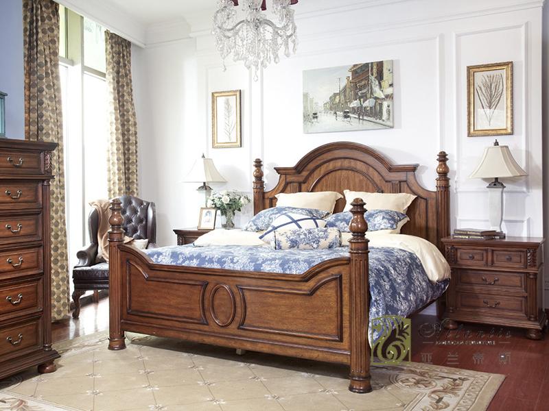亚兰帝斯家具美式古典卧室鹅掌楸全实木W601皇帝床/床头柜