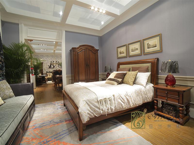 亚兰帝斯家具美式古典卧室鹅掌楸全实木W 632-3客卧床 1.5米/衣柜/床头柜
