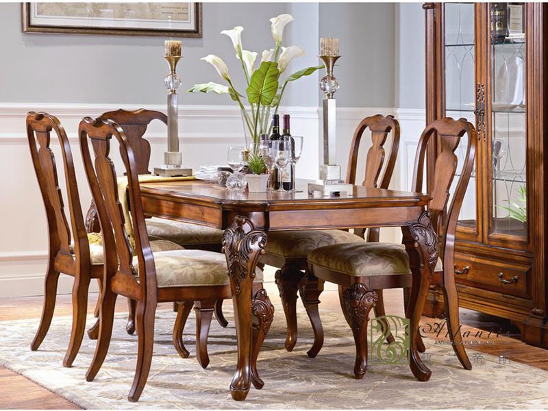 亚兰帝斯家具美式古典餐厅鹅掌楸实木餐桌椅C3604餐桌/餐椅