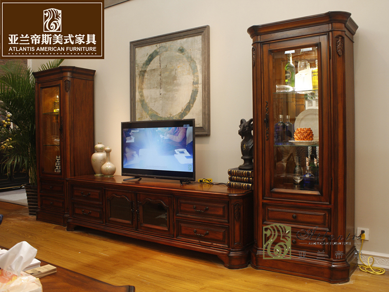 亚兰帝斯家具美式古典餐厅鹅掌楸实木K4265电视柜、K4273单门酒柜