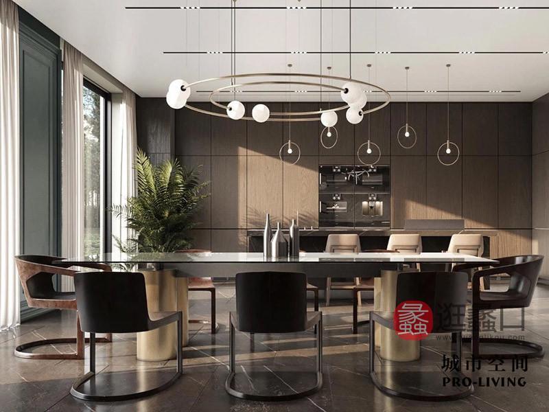 城市空间PRO-LIVING家具意式现代极简轻奢餐厅经典艺术多人餐桌椅组合