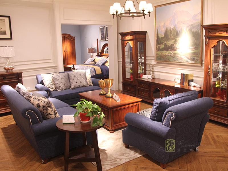亚兰帝斯家具美式古典客厅鹅掌楸全实木水性漆双人位/三人位/单人位沙发组合/茶几