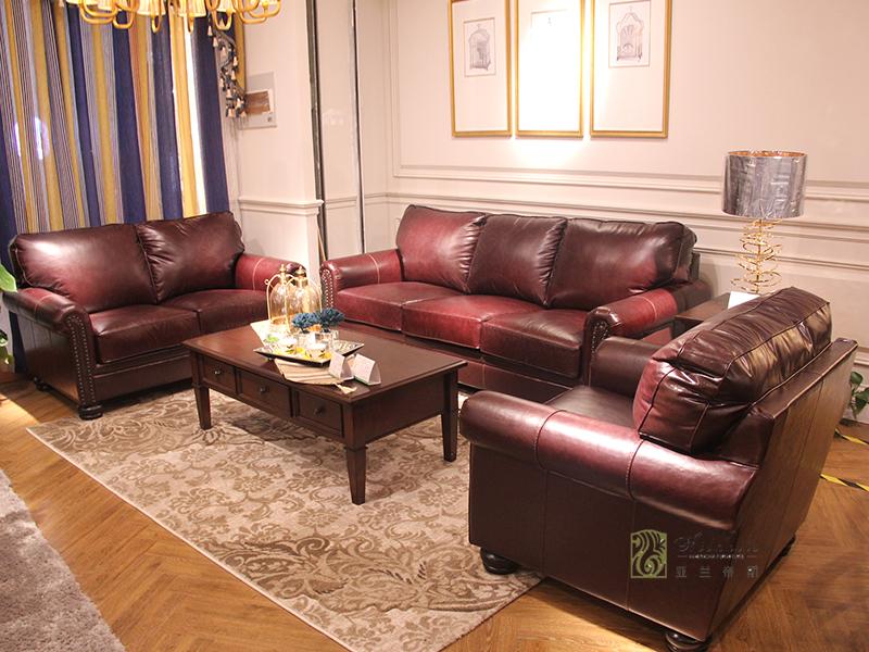 亚兰帝斯家具美式客厅鹅掌楸全实木水性漆双人位/三人位/单人位皮沙发组合/茶几/角几