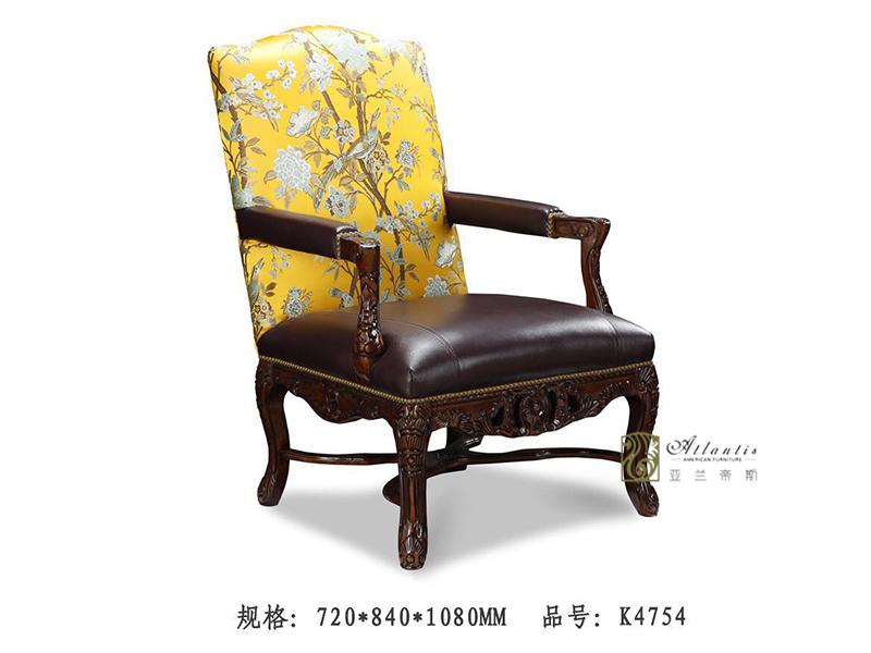 亚兰帝斯家具美式客厅鹅掌楸全实木水性漆皮单人位沙发