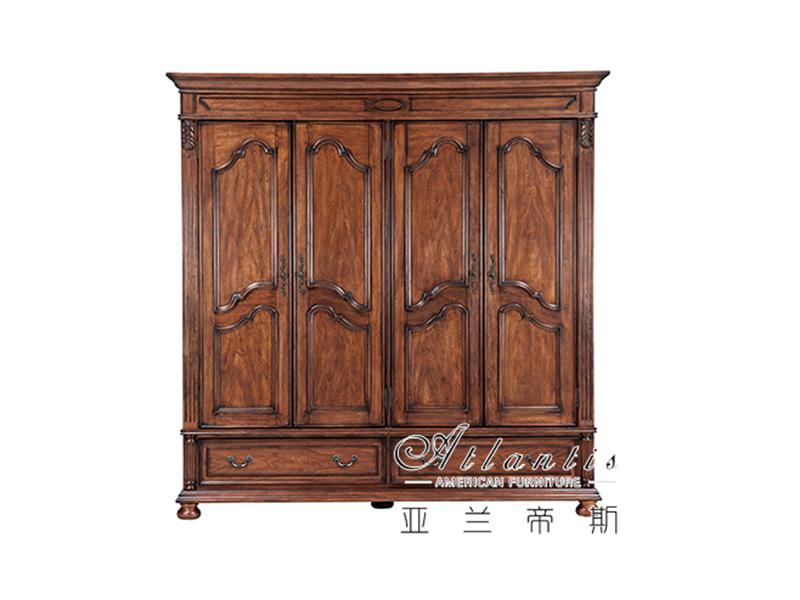 亚兰帝斯家具美式卧室鹅掌楸全实木W609四门衣柜
