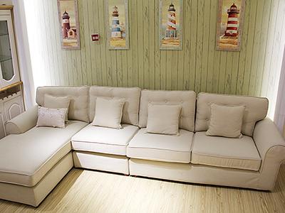 纯美加勒比简约现代客厅转角布艺沙发