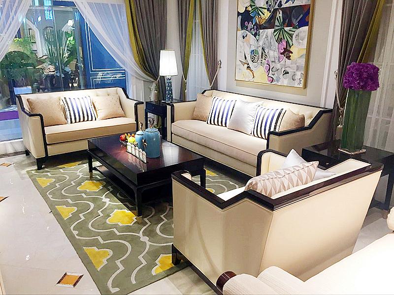 皇家爱菲家具新古典浅色客厅实木双人位/三人位沙发/茶几