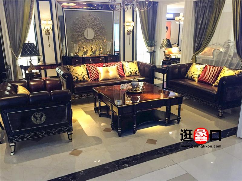皇家爱菲家具新古典客厅皮艺双人位/三人位/单人位沙发组合