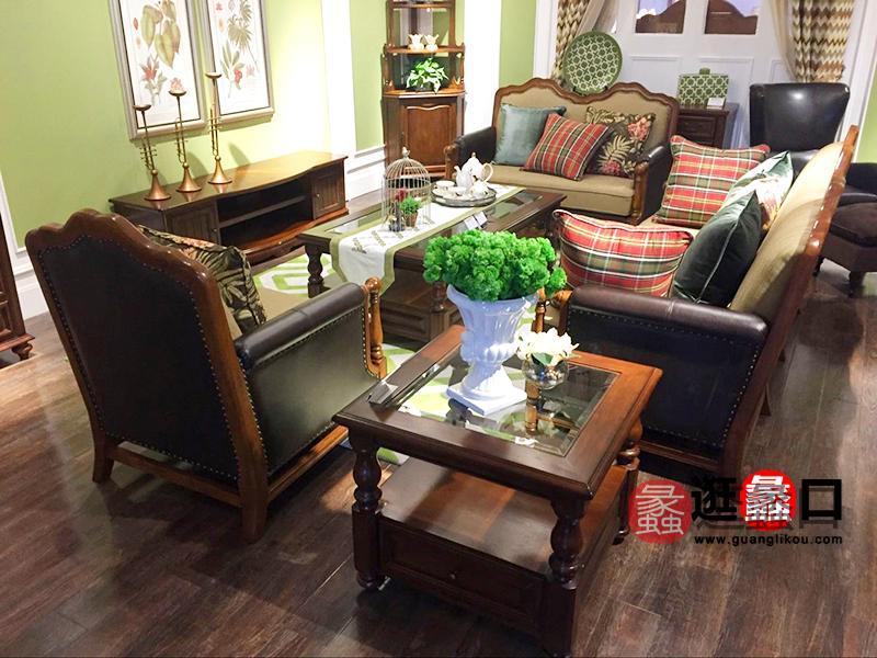 A家家居-ArtHouse美式客厅双人位三人位/单人位皮艺利发国际组合/茶几