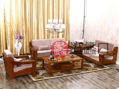 亨德利家居新中式客厅实木布艺软包沙发