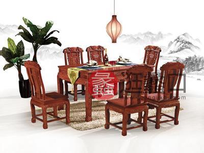 尚品红木中式古典餐厅红木餐桌椅(一桌六椅)