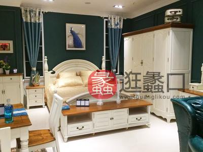 美墅福邸美式卧室实木双人大床/床头柜