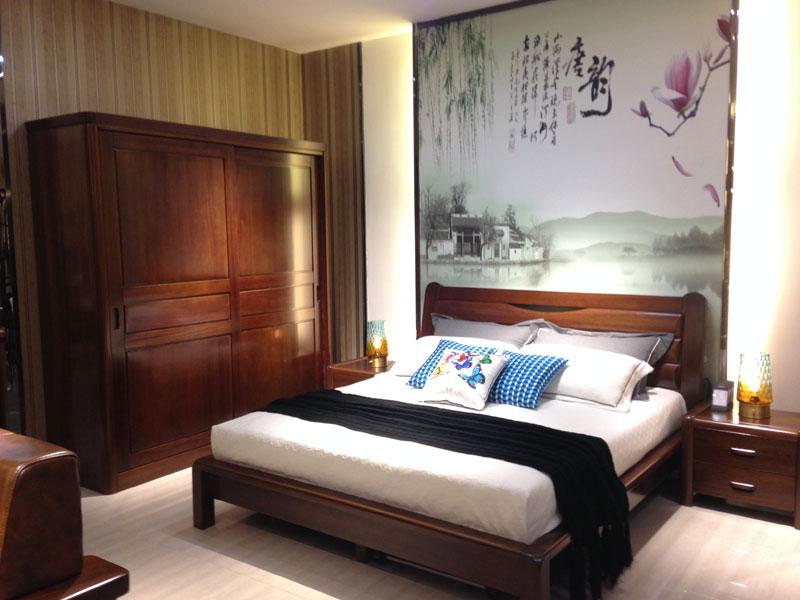 一品海棠 简约现代卧室家具海棠木双人大床