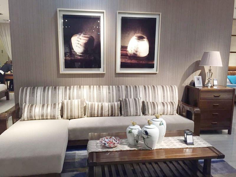 一品海棠 简约现代客厅海棠木布艺转角利发国际