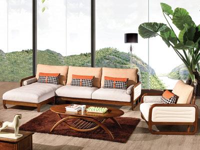 木杩家具北欧风格客厅沙发纯实木客厅沙发组合