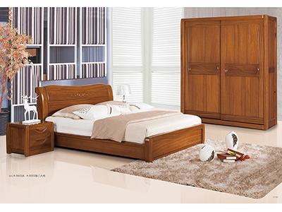 豪雅华斯中式卧室金丝木纯实木床/移门衣柜