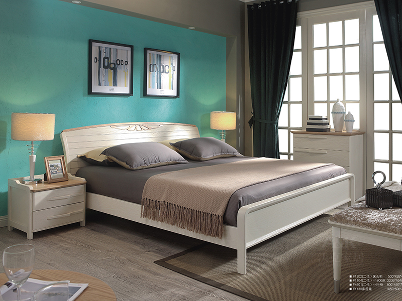 沃克家居北欧卧室橡木实木双人床F1202/床头柜/床前凳F1130