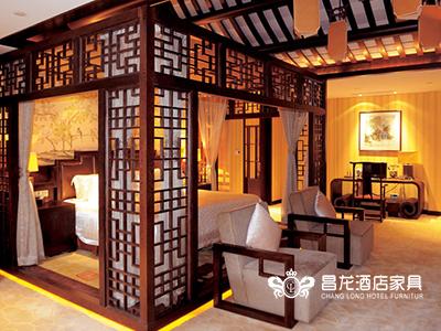 昌龙酒店定制家居中式古典卧室套房家具实木双人大床/休闲桌椅