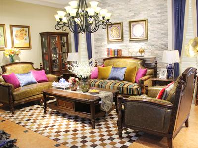 缀美家具 美式经典之作客厅实木1+2+3沙发组合