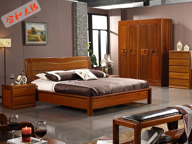 【合和木缘】家具简约现代卧室床黄金胡桃木GY-A8581双人床