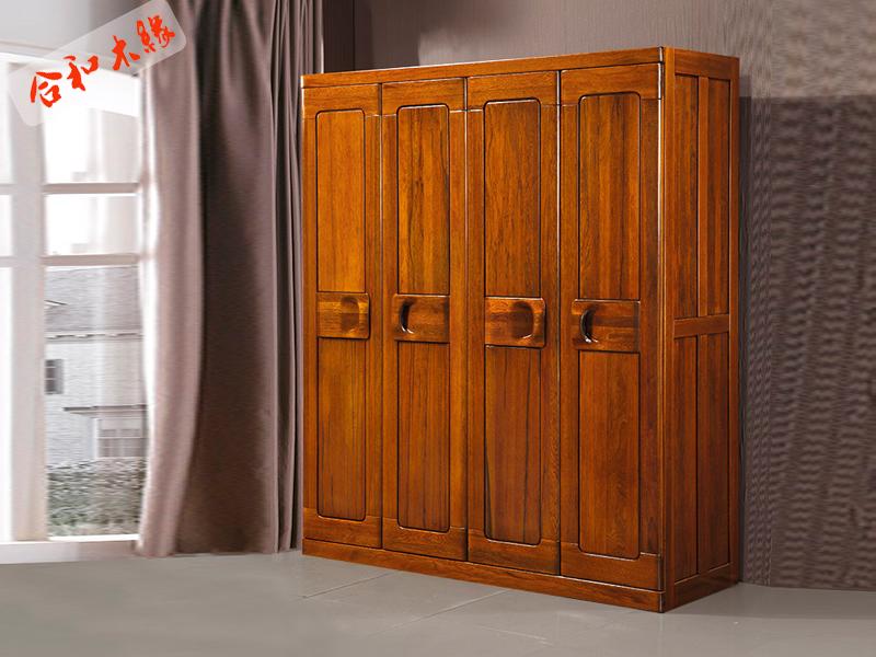【合和木缘】家具简约现代卧室衣柜胡桃木GY-A9551四门衣柜