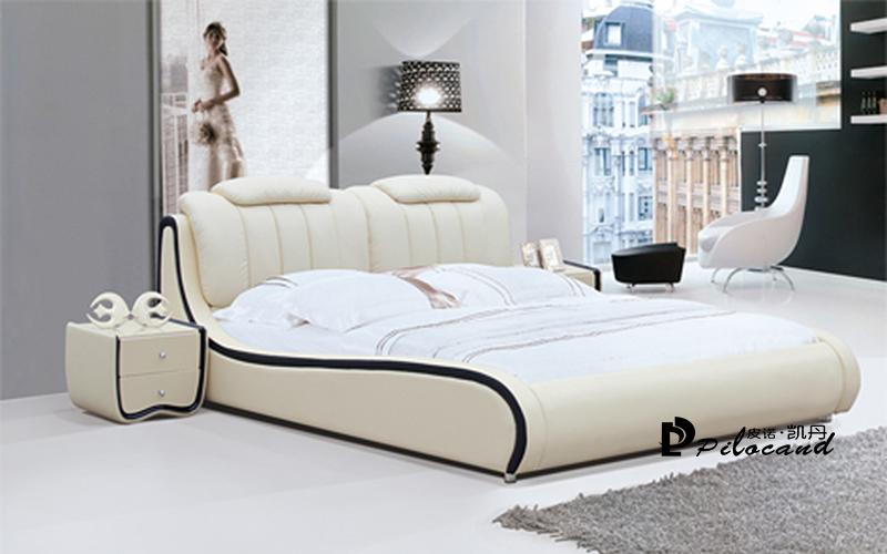 皮诺凯丹家具简约现代卧室915皮质双人软床