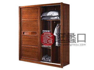 益香阁家具 中式卧室胡桃木实木移门衣柜HG-07