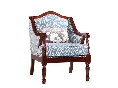 榞野美墅家具 美式卧室金丝木实木801休闲椅(条纹布)