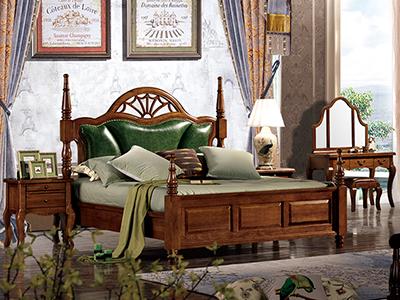 榞野美墅家具 美式卧室金丝木真皮软靠1.8米床/床头柜/梳妆台/移门衣柜
