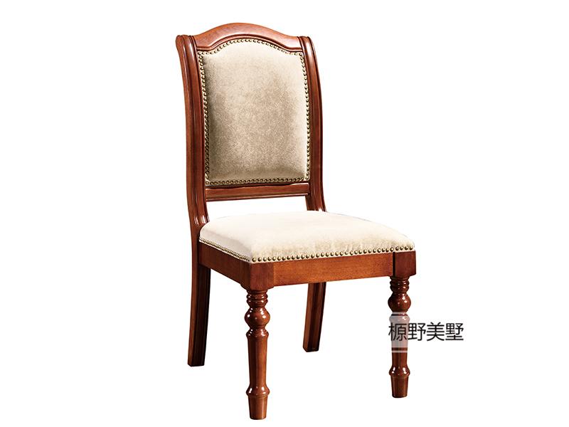 榞野美墅家具 美式品质款餐厅金丝木布艺餐椅