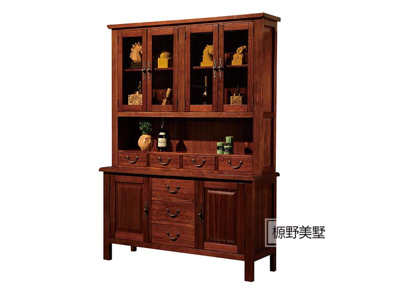 榞野美墅家具 美式精致细腻餐厅金丝木实木餐边柜802