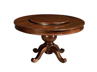 榞野美墅家具 美式高雅品味餐厅金丝木实木圆餐桌801