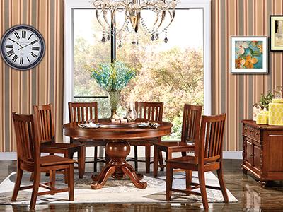 榞野美墅家具 美式餐厅金丝木纯实木801圆桌/802餐椅