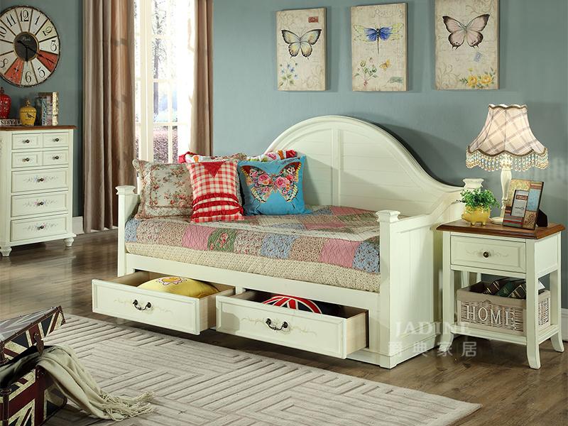 90空间家具·爵典家居 美式卧室实木儿童带抽床