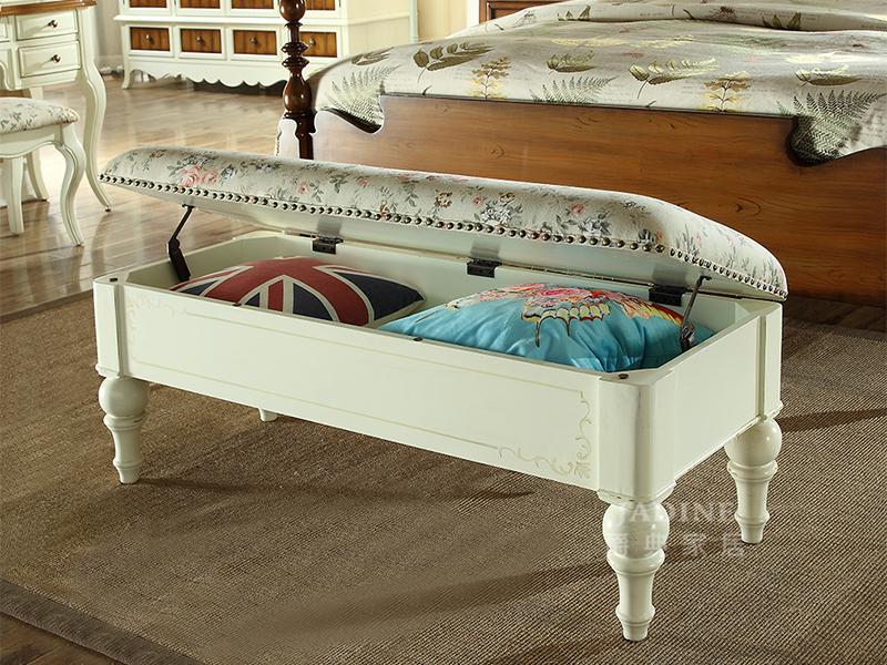90空间家具·爵典家居 美式卧室实木床尾凳