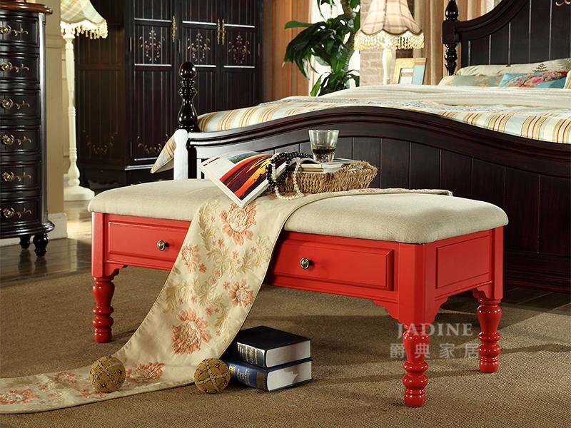 90空间家具·爵典家居 美式卧室红色布艺软包实木床尾凳